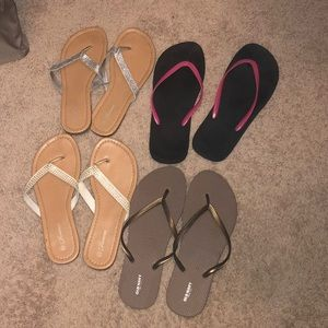 Bundle of 4 pairs of flip flops EUC size 9